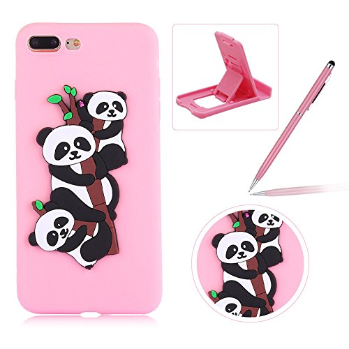 Coque iPhone 7 Plus Silicone, Herzzer Mignon 3D Panda Motif Design Étui Housse de Protection pour iPhone 8 Plus Soft Doux TPU Gel Backcover Ultra Mince Léger Flexible Téléphone Portable pour iPhone 7 Plus/ iPhone 8 Plus (5,5 Pouces) -- Rose