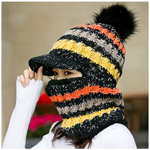 LIXUE Coupe-Vent Écharpe intégrée Bonnet de Langue de Canard Hiver Plus, Protection des Oreilles épaississante et Chaude (Color : Black)