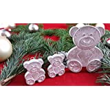 4 Stck. Beton, Steinguss Anhänger Anhänger kleine Bärenfamilie weiß patiniert. als Geschenk verpackt!