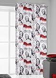 140x245 cm schwarz grau stahl rot Vorhang Vorhänge Marilyn Monroe Ösenschal Fensterdekoration Gardine Blickdicht black grey steely red Pop Art Marilyn1