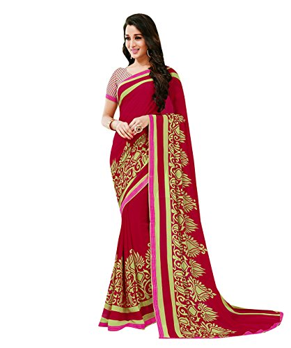 Subhash Sarees Maroon Color Georgette Printed Saree  available at amazon for Rs.1016