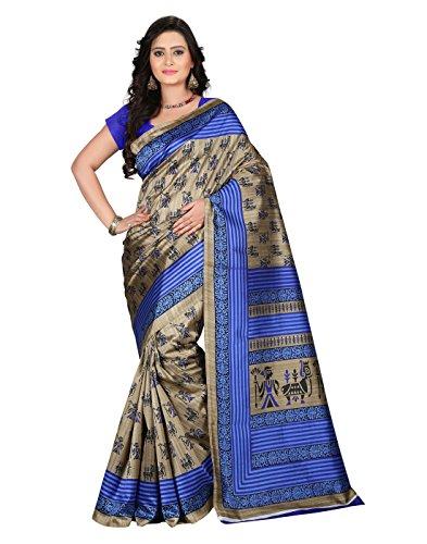 e-VASTRAM Women\'s Art Mysore Printed Silk(NS10A_Blue)