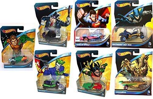 DC Universe 7 Car Hot Wheels Set Batman Vs Superman 2015 robin, penguin, aquaman, joker, hawkman by Hot Wheels