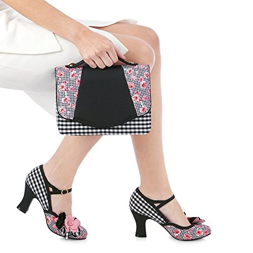 Ruby Shoo DEE Vintage Gingham FLOWER Riemchen PUMPS High Heels Rockabilly (36) - 4