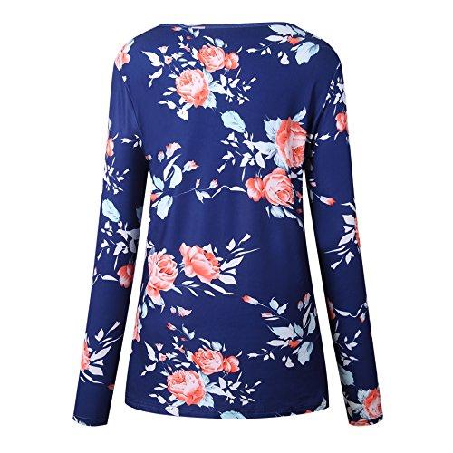T Shirt Donna Manica Lunga Rotondo Collo Eleganti Vintage Stampa Floral Stile Etnico Fashion Casual Basic Slinky Autunno Inverno Maglietta T-Shirt Tshirt Blusa Top Blu