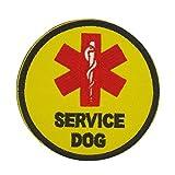 Cobra Tactical Solutions Military Patch brodé Service Dog Medic Star of Life/Etoile de Vie Jaune avec Fermeture Velcro pour Airsoft/Paintball pour vêtements Tactiques et Sac à Dos