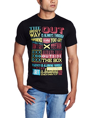 Peter England Men's T-Shirt (8907411566762_JKC31604172_X-Large_BlackWithRed)  available at amazon for Rs.399