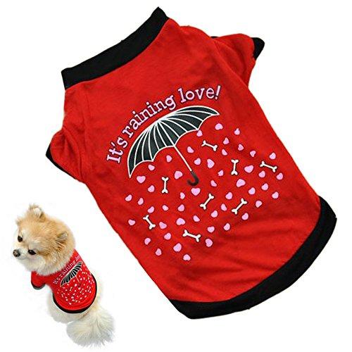 aaa226Pet Hund Kleidung Regenschirm Muster klein Kostüm Baumwolle T-Shirt Puppy (Pet Kostüm Muster)