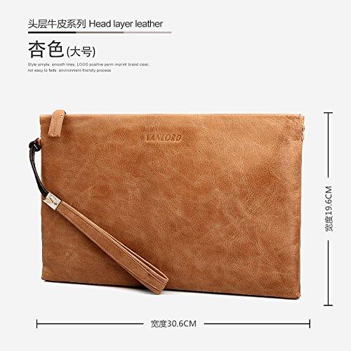 Handtasche, Leder, Tasche die große Kapazität Männer, business casual Umschlag Tasche, groß blau Big apricot