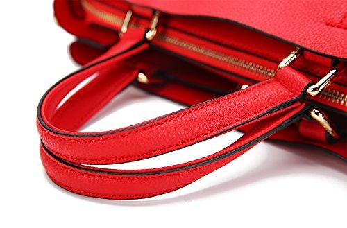 Malirona Schultertaschen Damenmode Crossbody Schulter Eimer Tote Handtasche für Frauen Leder (schwarz) Rot