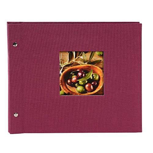 Goldbuch Schraubalbum mit Fensterausschnitt, Bella Vista Trend, 30 x 25 cm, 40 schwarze Seiten mit Pergamin-Trennblättern, Erweiterbar, Leinen, Fuchsia, 26508 - Erweiterbar 25