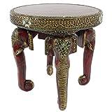 Oriental Galerie Nachttisch Elefanten Kopf Tisch Beistelltisch Ablage Opiumtisch Massiv Holz Spiegelsteine Rund Rot Gold Antik 50 cm Ø