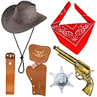 Beelittle Cowboy Costume Accessories Cowboy Hat Bandanna Toy Guns with Belt Holsters Cowboy Set for Halloween Party Dress Up