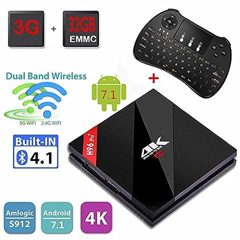 H96 Pro Plus 3G RAM + 32G ROM Android 7.1 TV Box Amlogic S912 Octa-Core 4K Ultra HD TV Box Support Dual Band WiFi 2.4 GHz / 5.0 GHz Ethernet 1000M et Mini clavier sans fil
