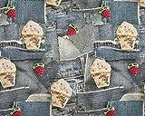 Zierstoff Qualitativ hochwertiger Jersey, Jeanspatchwork