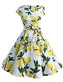 Dressystar Damen Vintage 50er Cap Sleeves Dot Einfarbig Rockabilly Swing Kleider die Zitrone L