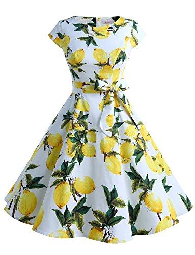 Dressystar Damen Vintage 50er Cap Sleeves Dot Einfarbig Rockabilly Swing Kleider die Zitrone M -