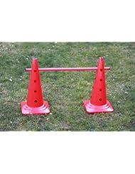 lot de 5 kits de haie (15 pièces en tout) : 10 cônes (à 16 trous) 50 cm, 5 jalons en plastique 80 cm, couleur : rouge - 10x MZK50y 5x 80r