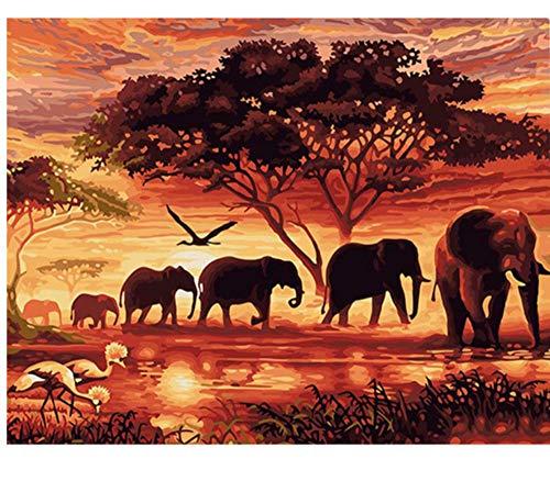 Elefantes Paisaje Diy Pintura Digital Por Números Arte de la Pared Moderna...