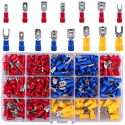 Kabelschuhe, 330 tlg. Flachstecker, Flachsteckhülsen und Gabelkabelschuhe Quetschverbinder Sortiment