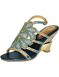 SYYAN Mujer Verano Blue Cuero Diamond Pump CL Sandals Banquete