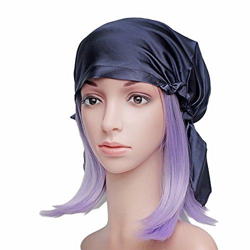 Viktorianischen Hüte Ära (Emmet Sleep Cap Mütze Seide mit Elastikband Soft Breathable(navy)