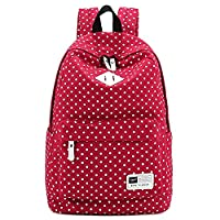 Lightweight Casual Daypack Canvas Polka Dot Backpack 14