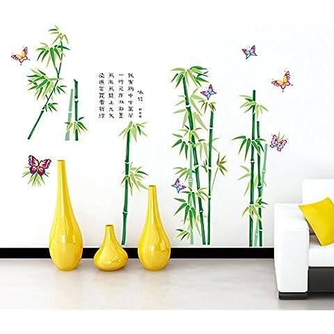 ufengke® Serie Verde Jardín de Bambú y Mariposas 3D Pegatinas de Pared con el Poema Chino, Sala de Estar Dormitorio Removible Etiquetas de la pared /