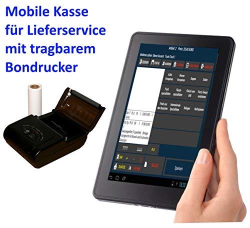 """Mobile Kasse Für Lieferservice (Blümen, Getränke, Pizza, usw): 10\"""" Terminal, BT-Bondrucker. GDpdU GoBD INSIKA"""