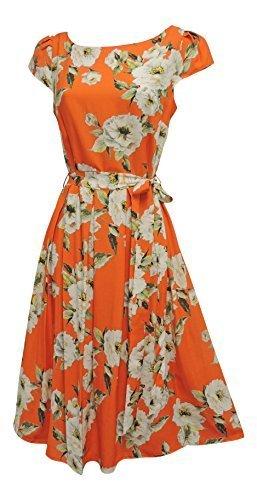 Neue Orange Creme Blumen ZWEITER WELTKRIEG 1930's 1940's Vtg stil Landmädchen Swing Teekleid - Orange und Creme, EU (Swing Kostüm 1940)