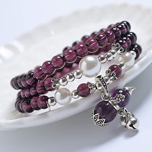 WHKJ Natürliche Amethyst Frauen Armbänder Zu Rekrutieren Geld Transfer Gourd Glocke Mehrschicht Perle Mode Paar Jahrestagsgeschenk 6. -