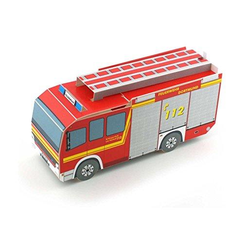 Pop-Up-Karte/Faltkarte von einem knallroten Feuerwehrauto - die ideale Einladungskarte für eine Motto-Party zum Thema Feuerwehr ()
