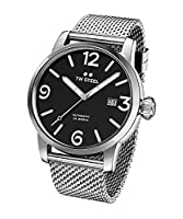 TW Steel Maverick Men's Automatic Watch with Black Dial Analogue Display and Grey Stainless Steel Bracelet MB16