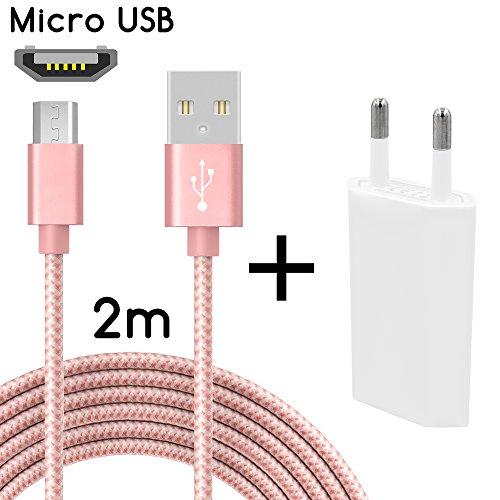 TheSmartGuard Micro-USB Ladegerät / 2in1 Ladeset / Micro-USB-Ladekabel mit Netzteil / Netzstecker für für Android Smartphones, Samsung Galaxy S7 / S7 Edge / S6 / S5 / S4 / S3, Note 5 / 4 / 3, HTC, Huawei, Sony, Nexus, Nokia, Kindle und viele mehr | Nylon | Rose | 2 Meter / 2m