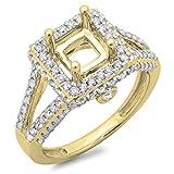 Damen Ring 0.95 Karat 14 Karat Gelbgold Rund Diamant Semi Mount Verlobungsring 1 Karat