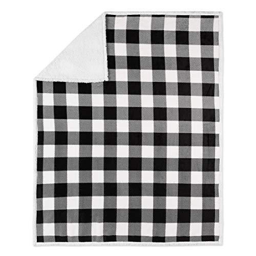 Safdie & Co. 50x60 Buffalo Plaid White and Black Ultra Soft Throw, Multi Color - Buffalo Plaid Fleece
