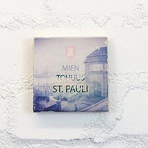 Hamburg auf Holz - MIEN TOHUUS ST. PAULI - 10x10 cm - Holzbild, Wandbild, Landhausstil, Shabby Chic, Vintage, Bilder, Motive, Hamburg, Geschenkidee, Souvenir, Deko
