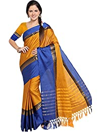 EthnicJunction Chettinadu Selfdesign Cotton Silk Saree With Tassels (EJ1162-1013, Yellow N Blue)