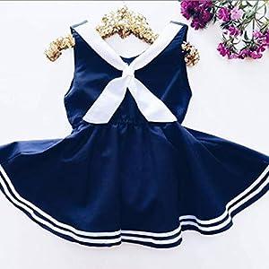 Chennie kleine Mädchen gestreiften Kleidern Sommer Marine Armee Stil ärmelloses Kleid für Party lässig
