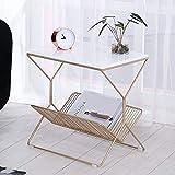 Feifei Moderner minimalistischer Schlafzimmer-Nachttisch-Marmor-Kleiner Couchtisch-Schmiedeeisen-Nachttisch-Sofa-Beistelltisch (Farbe : Weiß)