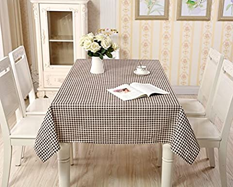 Eazyhurry Cotton Linen Fresh Brown Lattice Print Table Cloth for Dinner Washable Table Cover for Home Decoration Square Tablecloth Desk Cover 35.4
