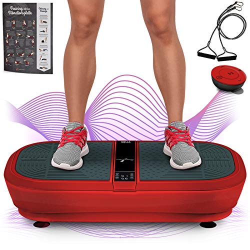 Sportstech Profi Vibrationsplatte VP300 mit 3D Wipp Vibrations Technologie + Bluetooth A2DP Musik, Riesige Fläche, 2 Kraftvolle Motoren + einmaliges Design + Trainingsbänder + Fernbedienung