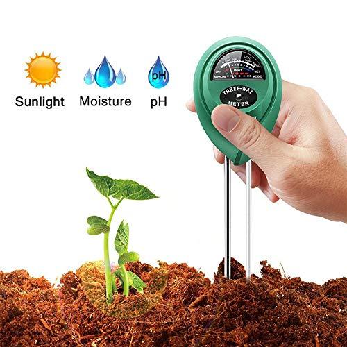 ALOOVOO 3-in-1-Bodentester, Pflanzenbodentester, multifunktionale Digitale PH-Meter Feuchtigkeitsmesser Sonnenlichtintensität Tester Messung Analyse Instrument -