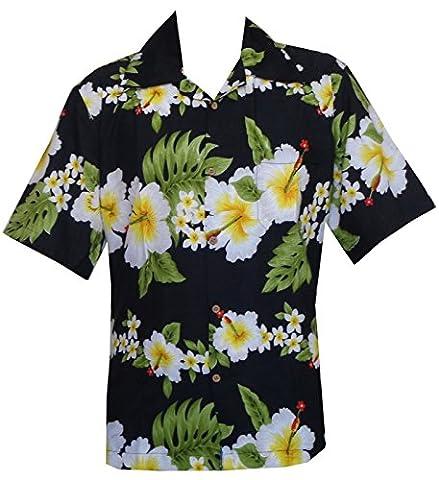 Hawaiian Shirt 10A Mens Cross Hibiscus Flower Print Beach Party