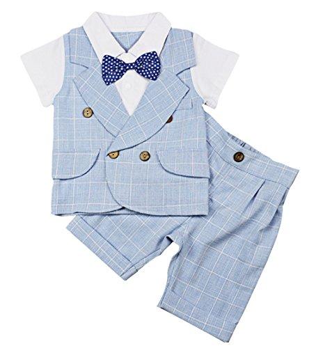 Lukis Baby Jungen Strampler Smoking Kleinkind Gentleman Anzug Taufkleidung Blau Größe 90