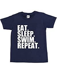 Fancy A Snuggle Eat. Sleep. Swim. Repeat. Swimming Pool Freestyle Kids Boys / Girls T-Shirt