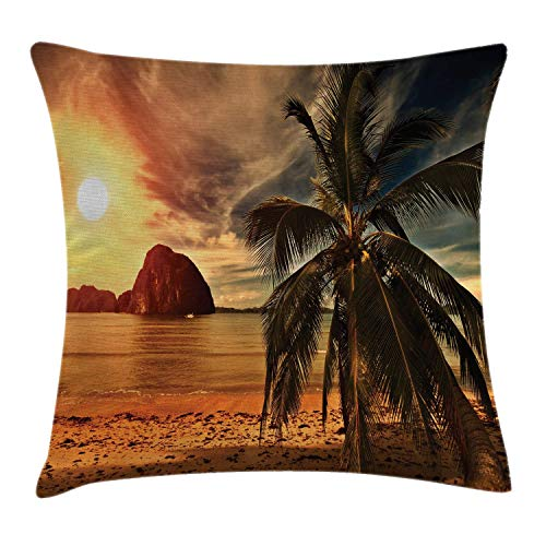 w Cushion Cover, Exotic Beach with Coconut Palm Tree and Horizon Sunset Calm Panorama, Decorative Square Accent Pillow Case, Orange and Olive Green, 18 X 18 Inches ()