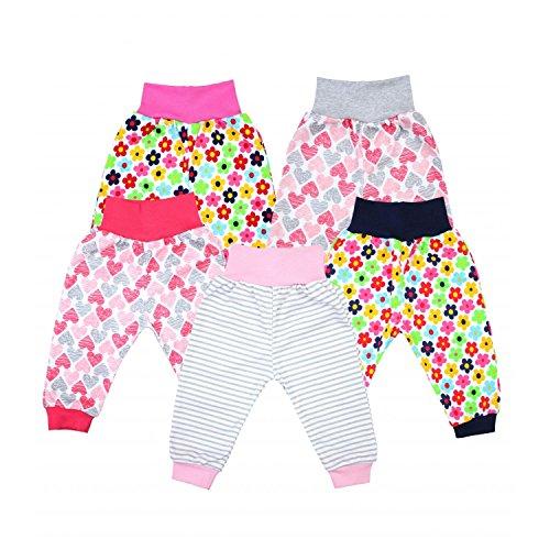 TupTam Unisex Baby Pumphose Jersey Schlupfhose 5er Pack, Farbe: Mädchen, Größe: 74
