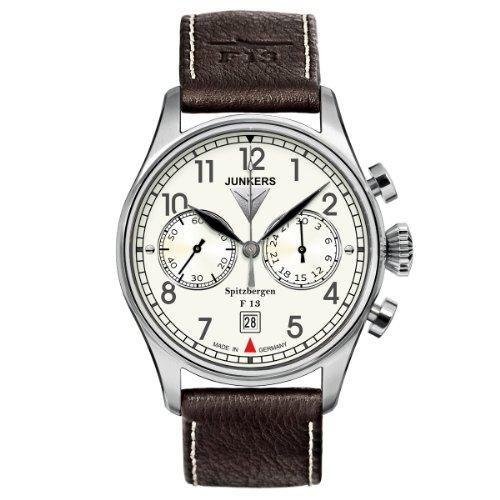 Junkers Herren-Armbanduhr XL Spitzbergen F13 Chronograph Handaufzug Leder 61105