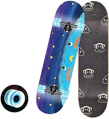 ZXCMNB Skateboard Blitz-Rad-Kids Anfänger Doppel Kick-Trick Skateboard Cruiser 31